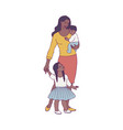 happy african mother standing with two baby vector image