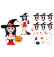 happy halloween set sexy witch vector image