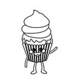 kawaii cupcake party celebration happy icon vector image vector image