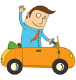 Man in car vector image vector image