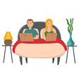 married couple in bed surfing internet using vector image