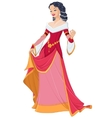 Medieval lady in red dress vector image