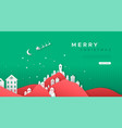 merry christmas paper cut village web template vector image vector image