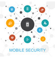 mobile security trendy web concept with icons vector image vector image