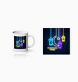 neon ramadan islam holy month symbol for cup vector image vector image