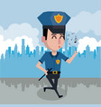 policeman at the city cartoon vector image