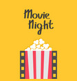 popcorn film strip line pop corn red white box vector image vector image