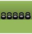 set of six black kettlebells vector image
