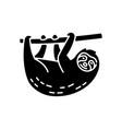 sloth black glyph icon vector image