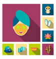spa salon and equipment flat icons in set vector image vector image