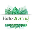 spring card with doodle and green leaves for vector image vector image