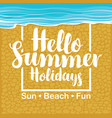 summer travel banner with seacoast and inscription vector image