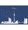 Tokyo city skyline on blue background vector image vector image