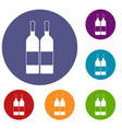 two bottles of wine icons set vector image vector image