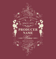 vintage wine label with floral and fruit ornament vector image vector image