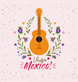 viva mexico colorful poster with acoustic guitar vector image vector image