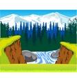 Waterfall in wood vector image vector image