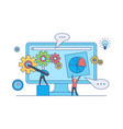 web design development concept with teamwork on vector image