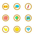 web surfing icon set cartoon style vector image vector image