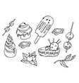 winter coloring elements with tasty cakes vector image vector image