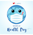 world health day planet in guard mask vector image vector image