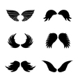 Black silhouette angel wings set feathers vector image