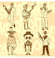 Skeletons - gangsters set Vinyl-ready vector image