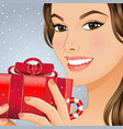 christmas girl with gift box vector image