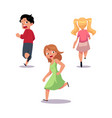 frightened kids boy and girl running away in fear vector image