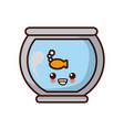 fish in bowl kawaii cute cartoon vector image