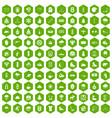 100 winter sport icons hexagon green vector image vector image