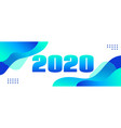 2020 long fluid liquid blue banner vector image vector image