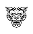 angry tiger head silhouette vector image
