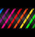 black background with colorful stripes vector image vector image