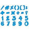 blue font design for numbers vector image vector image