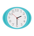 blue oval clock isolated on white vector image vector image
