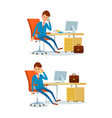 business affairs of businessman working in office vector image vector image