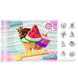 cartoon delicious ice cream concept vector image
