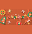 christmas decoration cardboard paper craft banner vector image