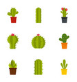 desert cactus icon set flat style vector image vector image