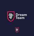 dream team logo business team emblem d t vector image vector image
