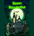 halloween ghosts and monsters with haunted house vector image vector image