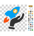 hand launch bitcoin rocket icon with bonus vector image vector image