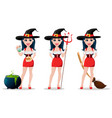 happy halloween set sexy witch vector image vector image