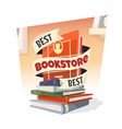 Heap of books with Best Bookstore text vector image