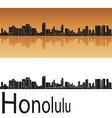 Honolulu skyline in orange background vector image vector image