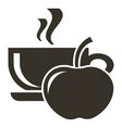 icon cup of hot tea with apple flavor logo in vector image vector image