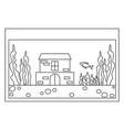 line art black and white fish aquarium vector image