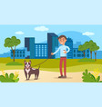 male character walking with dog on background vector image vector image