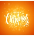 Merry Christmas greeting card lettering design red vector image